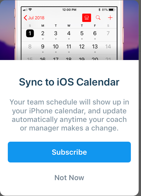 Subscribe to a Team Schedule - The Playbook