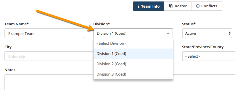 Add or Edit Tournament Divisions and Teams - The Playbook