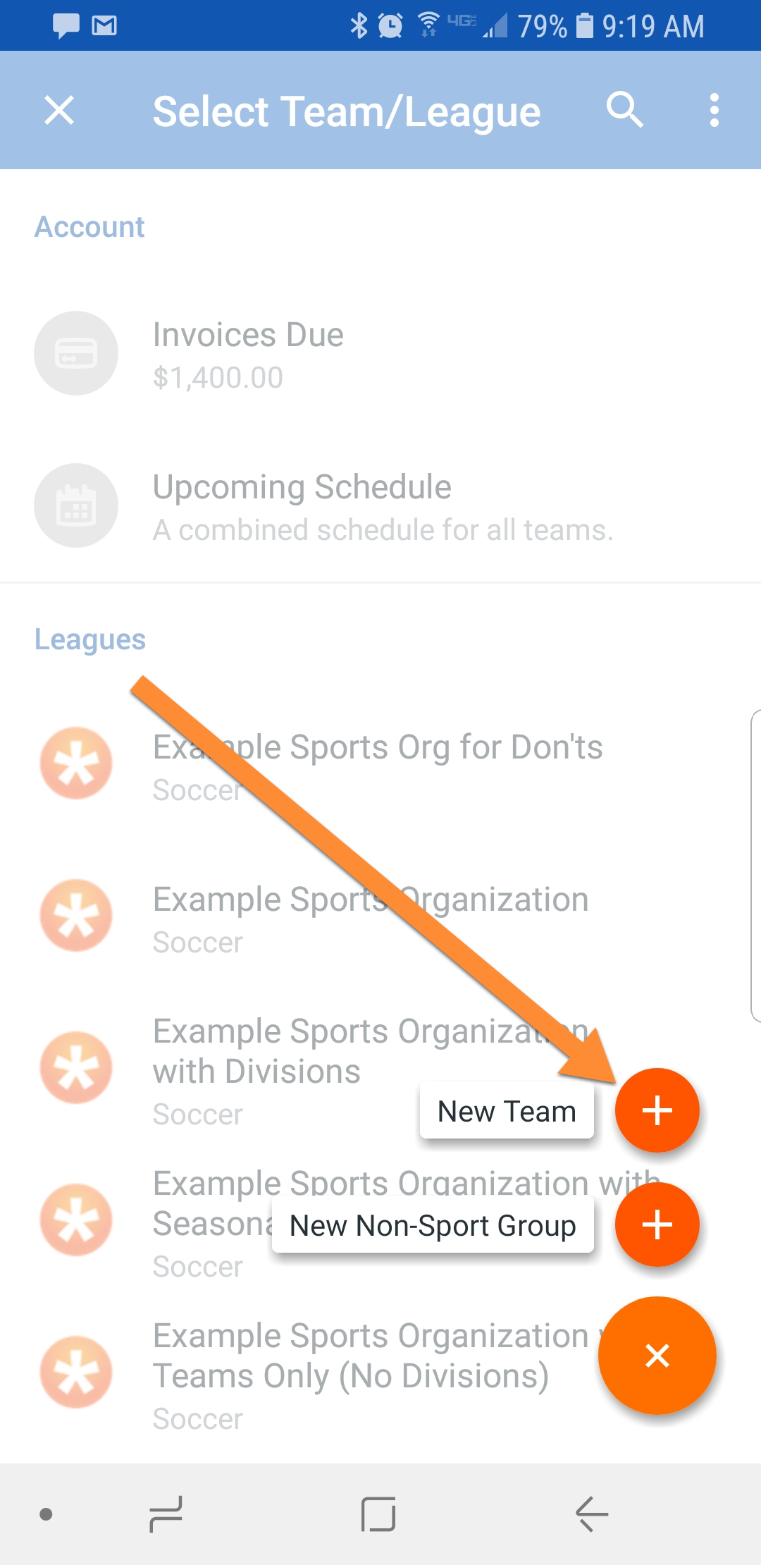 Android add new team button