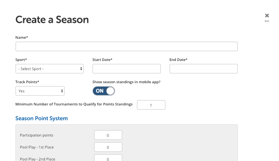 Set Up and Manage Seasons in TeamSnap Tournaments - The Playbook