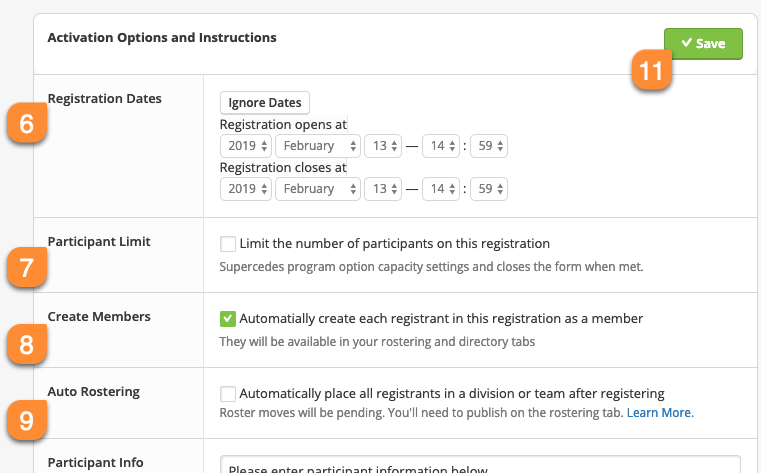 Screenshot of top portion of registration activation screen.