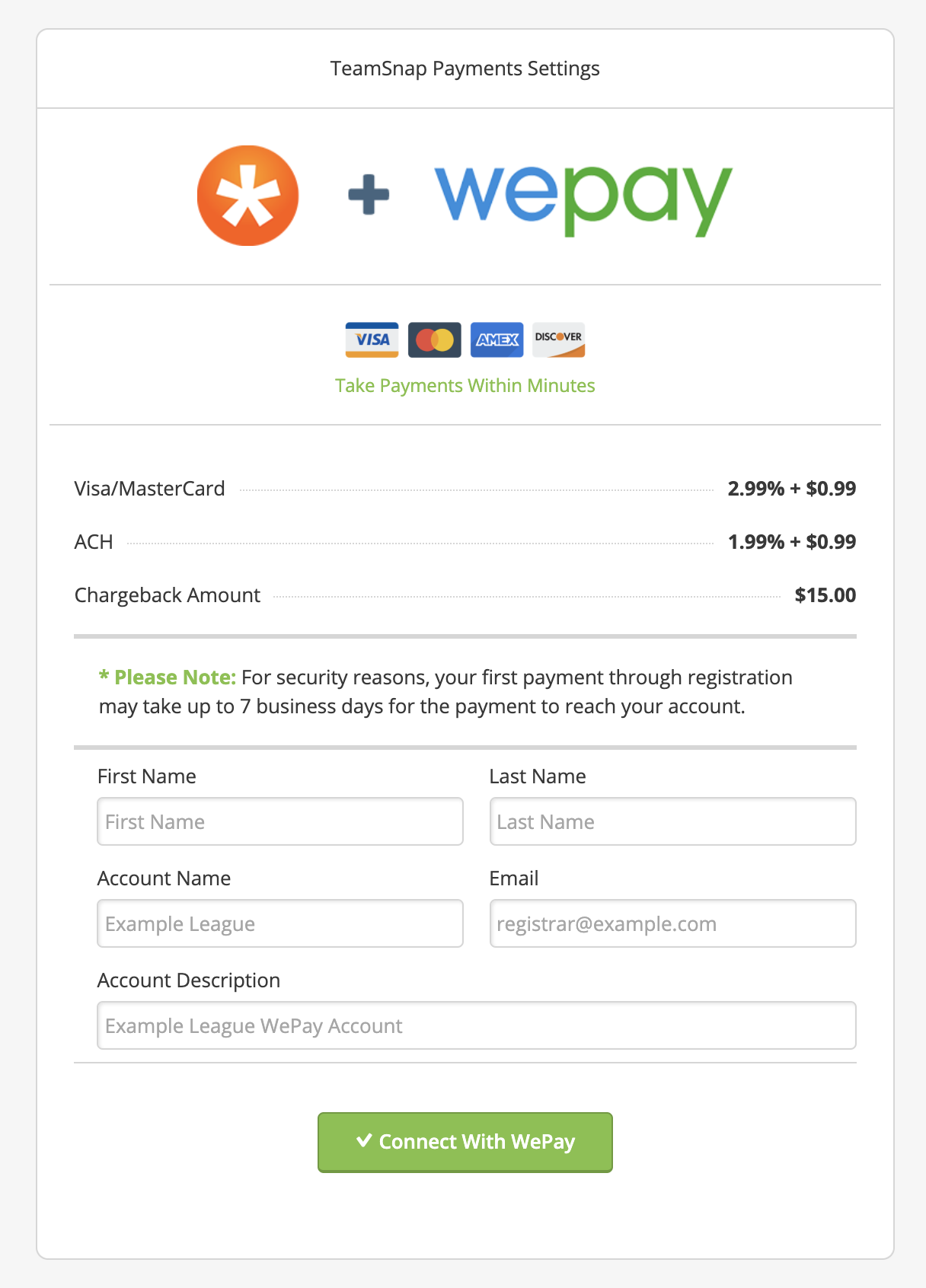 Set Registration Payment Methods & Automatic Adjustments