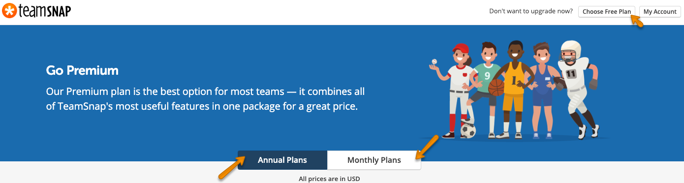 Screenshot of the plan selection page showing Free plan, Annual and Monthly selection points.