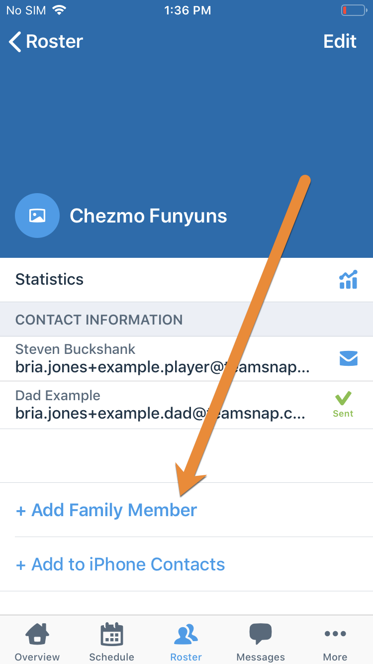 Add Family Member link on iOS app.