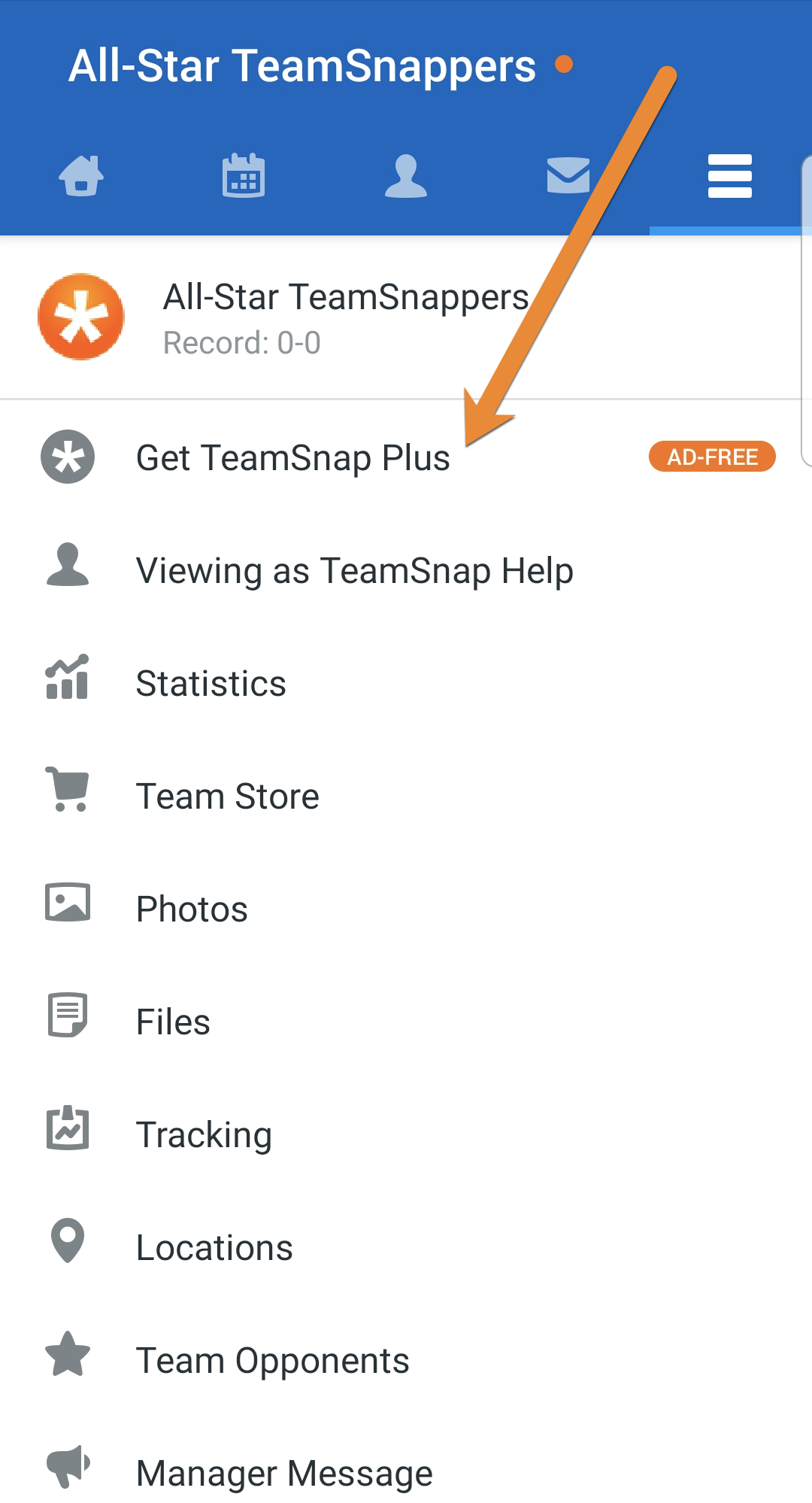 Android overflow menu screen showing TeamSnap Plus option