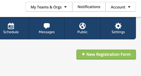 Image of the new registration form button on the registration overview screen.