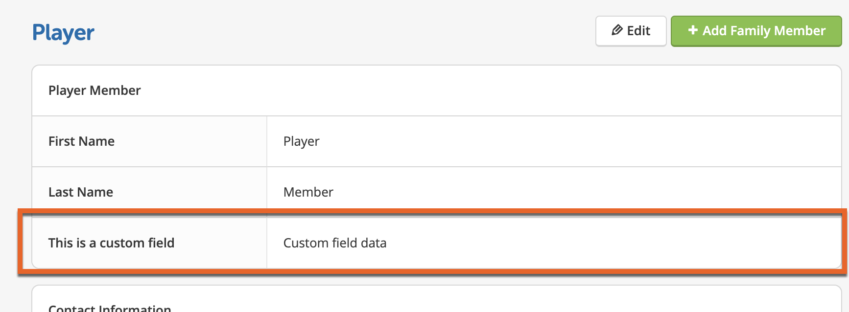 Screenshot of an example custom field in roster profile view.