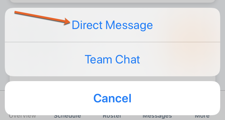 Screenshot of the direct message option in the TeamSnap app on iOS.