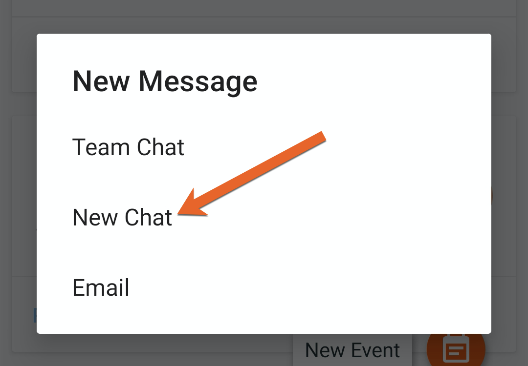 Screenshot of the new message options in the TeamSnap Android app.