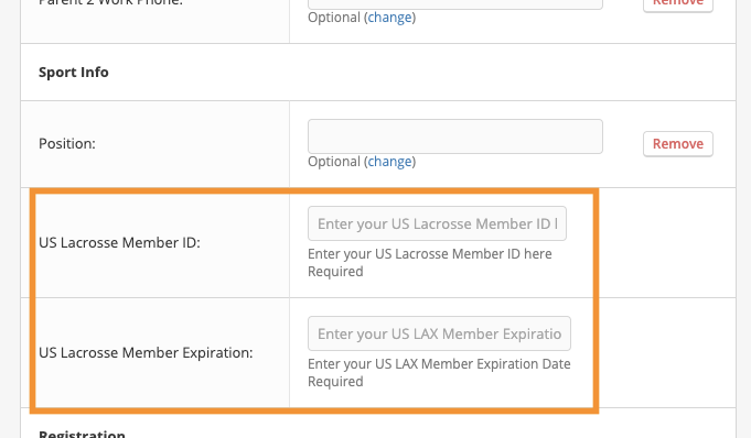 A screenshot of the US Lacrosse membership verification fields as shown in the form field editing screen.