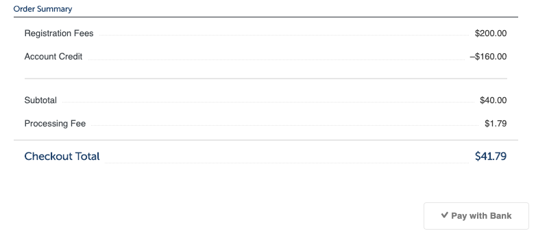 Screenshot of an example fee amount remaining after available credit has been applied.