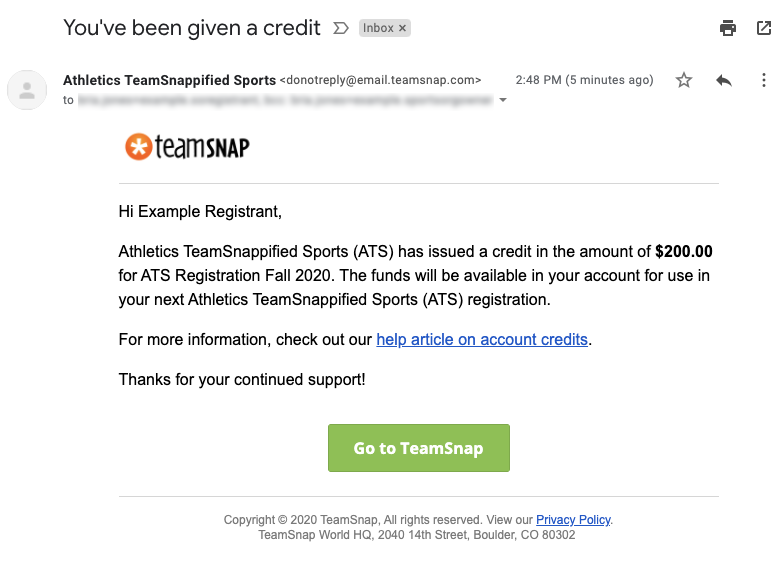 Screenshot example of the credit notification email.