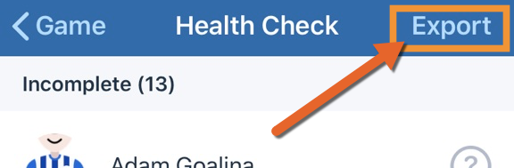 Health check export link on iOS.