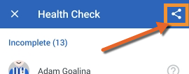 Health check report share icon on Android.