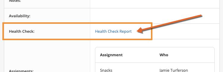 Health Check Report link on the web.