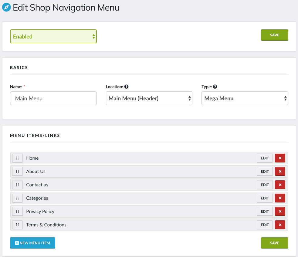 Main Navigation Menu PushCommerce
