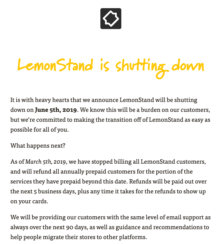 Lemonstand Shutting Down