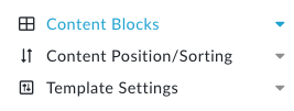 A partial shot of the Content Builder Menu showing Content Blocks, Positions and Template Settings
