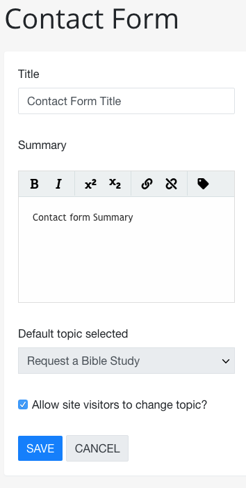 Contact Form Widget - Adventist Place