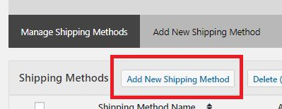 Create Shipping Method by Clicking on Add New Shipping Method