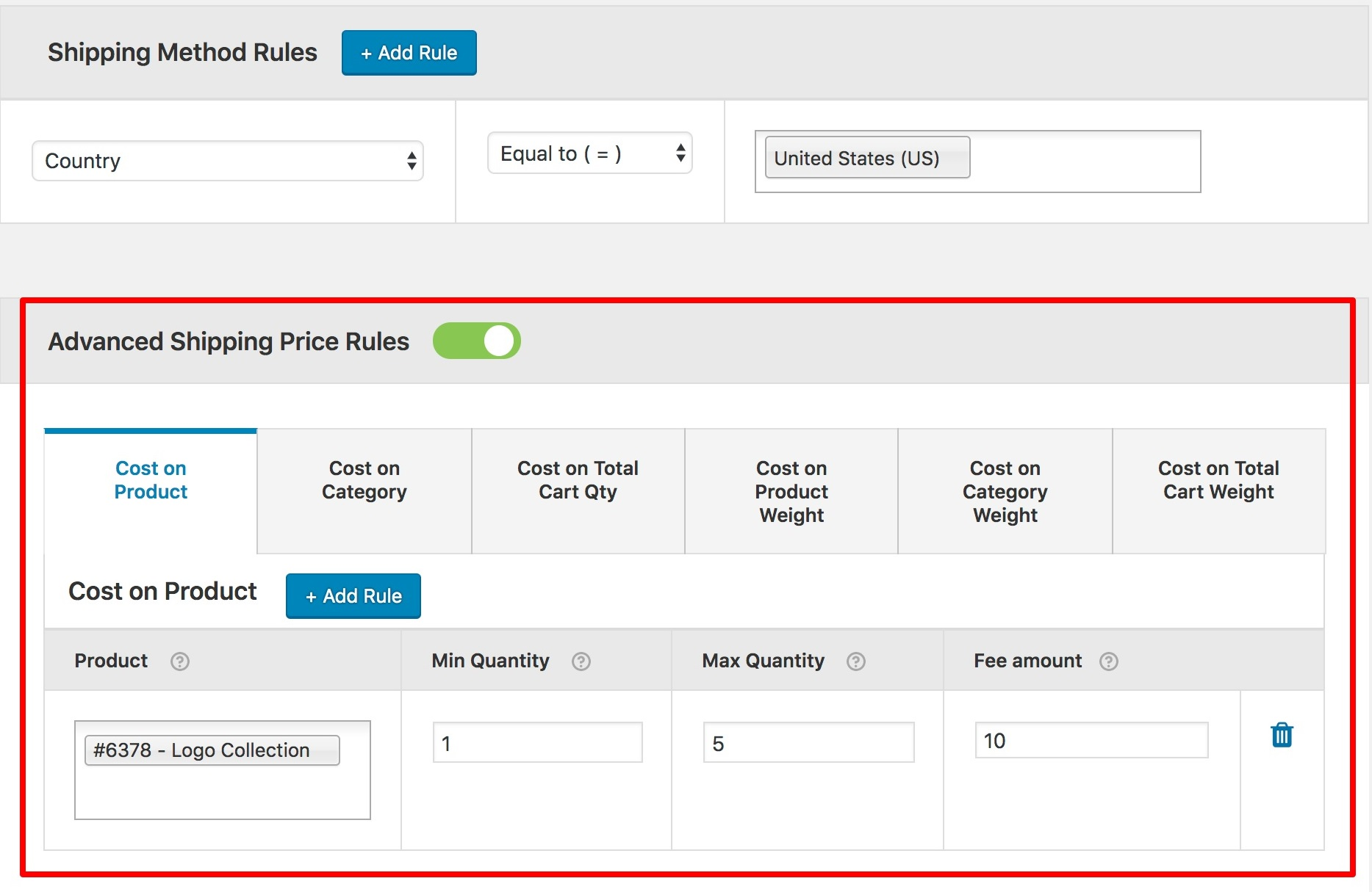 Advanced Shipping Price Rules Setting
