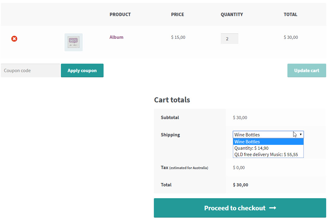 Display Shipping method with Checkout buttons