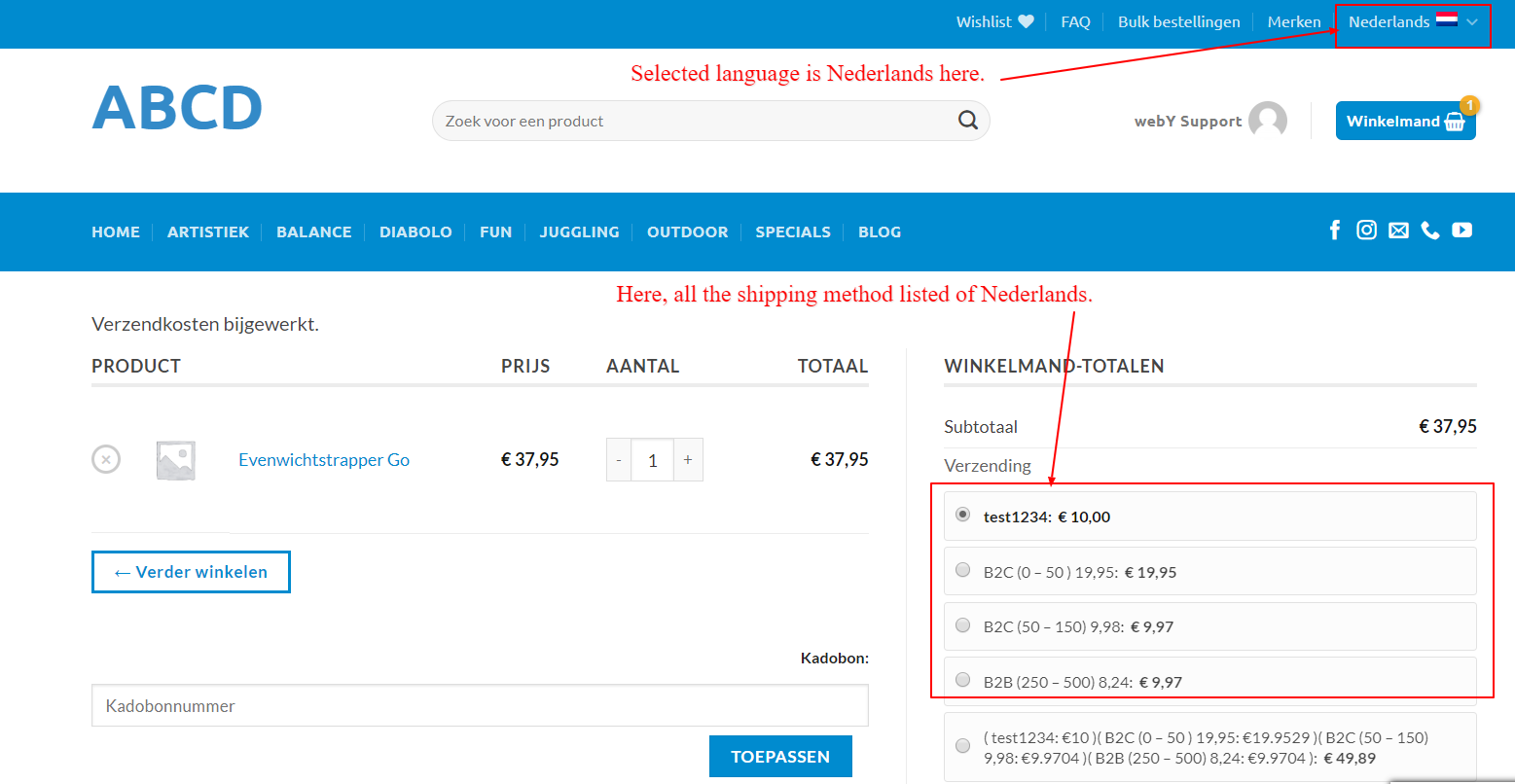 View the shipping method based on the Language selected as below