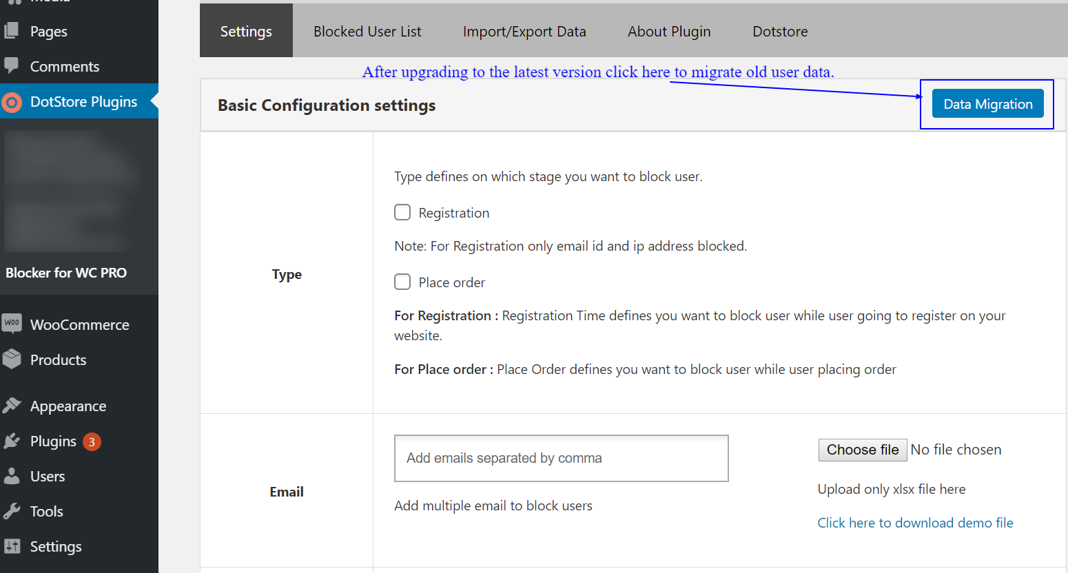 How to migrate old plugin user data