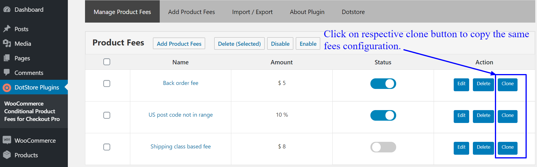 How to clone conditional fee with same settings