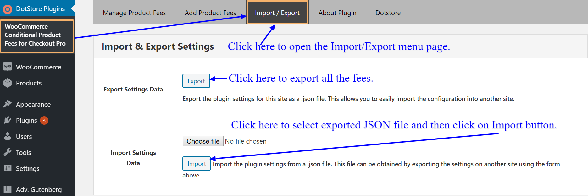 How to export and import conditional fees