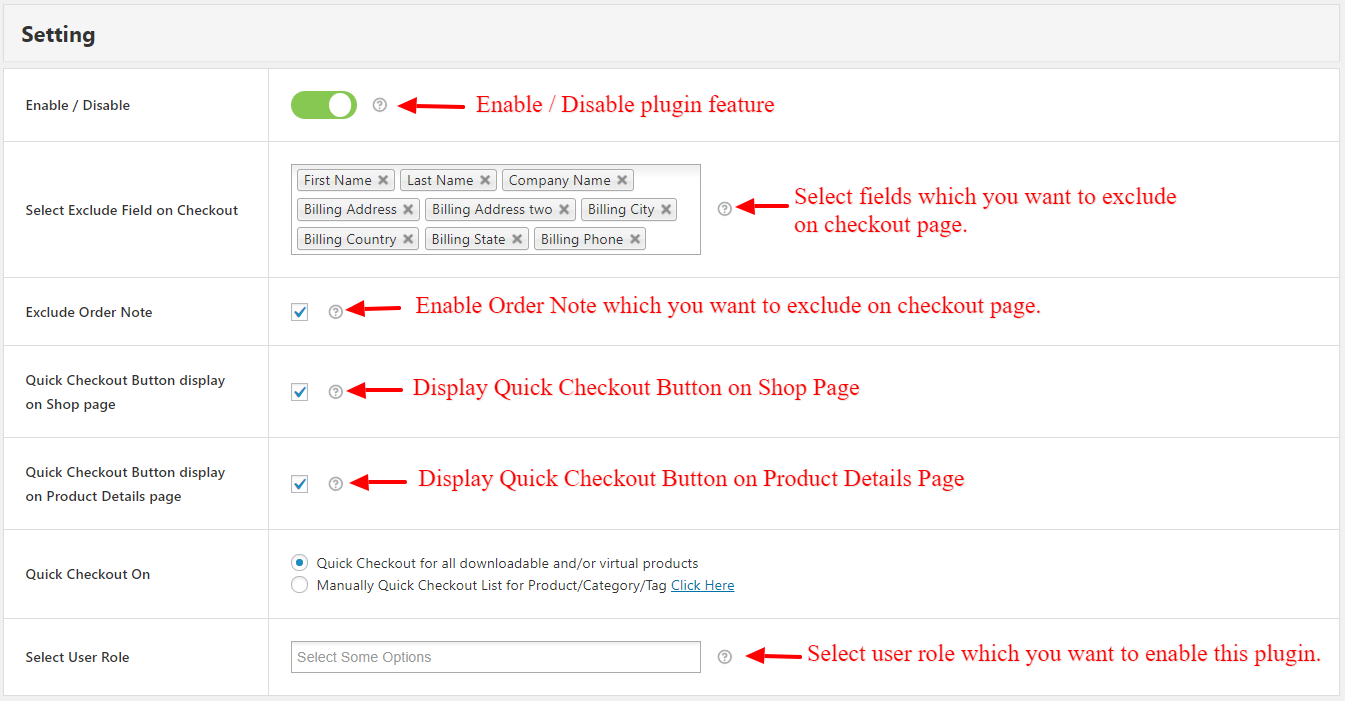 Quick Checkout Enable / Disable Backend
