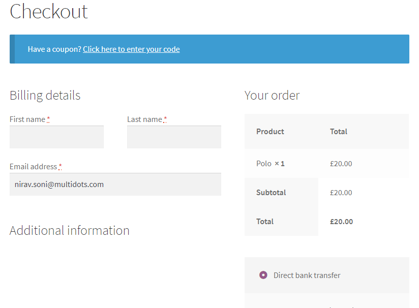 Selected Exclude field on the checkout page.