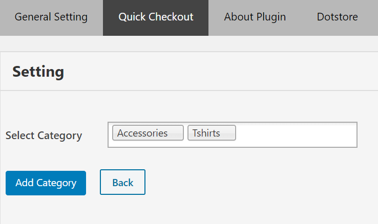 How to apply the Quick Checkout option for specific Category