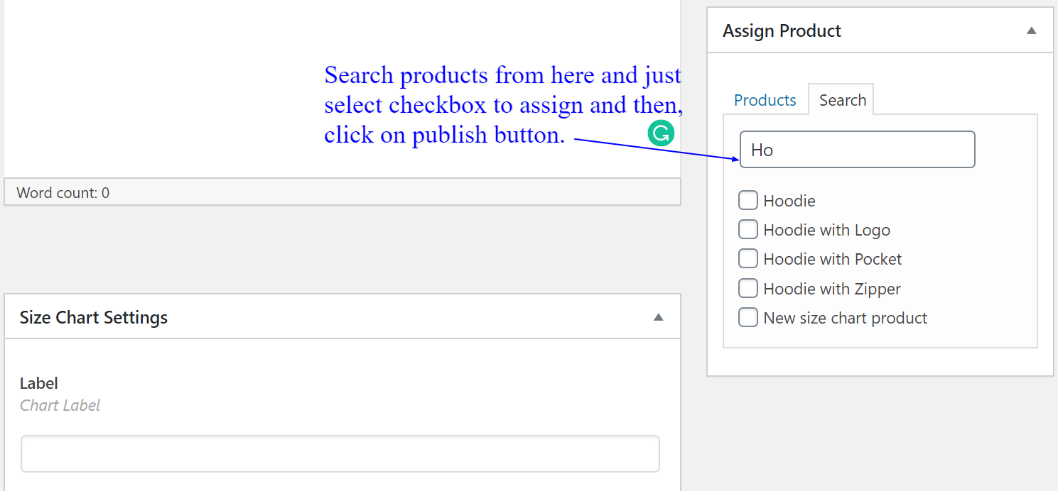 How to assign size chart to single or multiple products