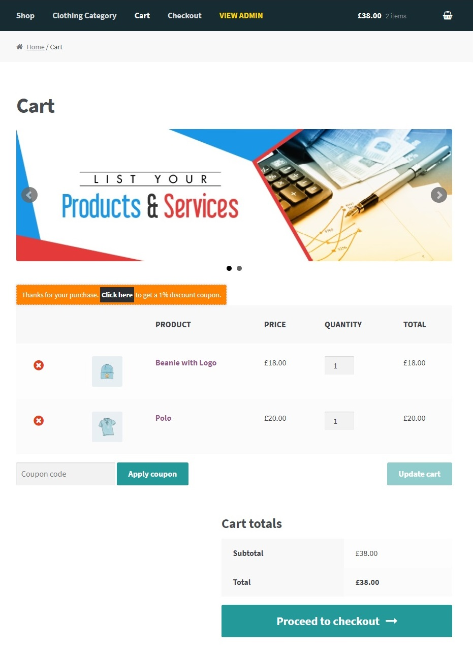 How to add banner on cart page