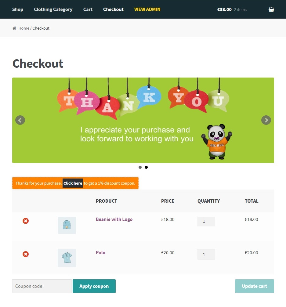 How to add banner on checkout page