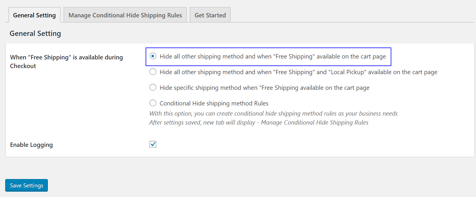 How to hide all other shipping methods when Free Shipping available on the cart page