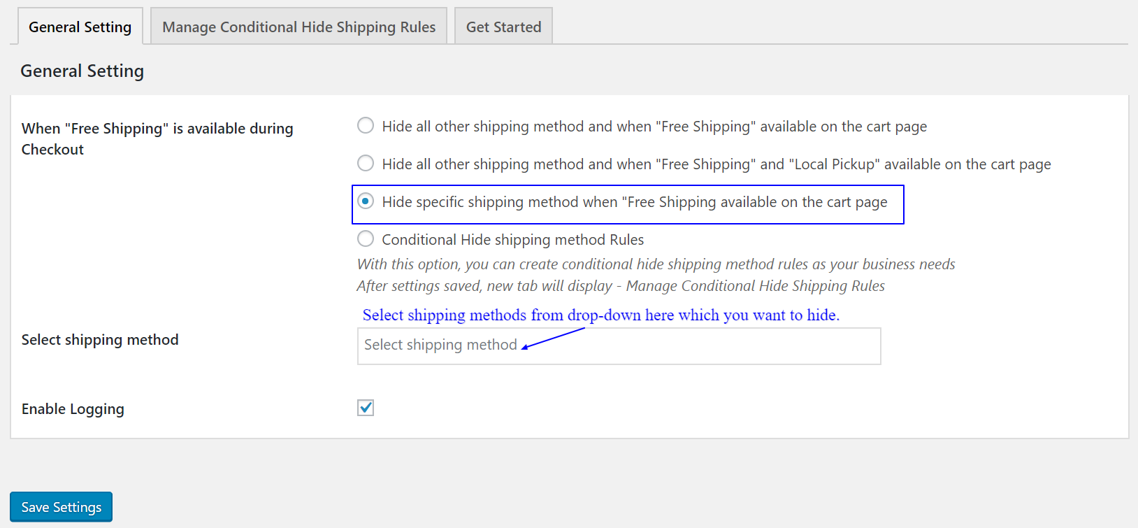 How to hide specific shipping method when Free Shipping available on the cart page