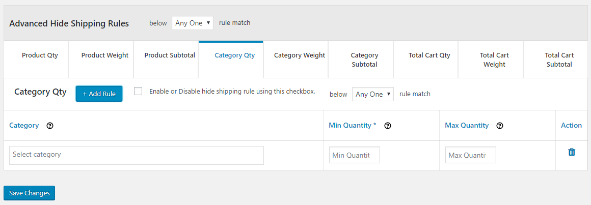 How to add advanced rule for category quantity specific hide rule