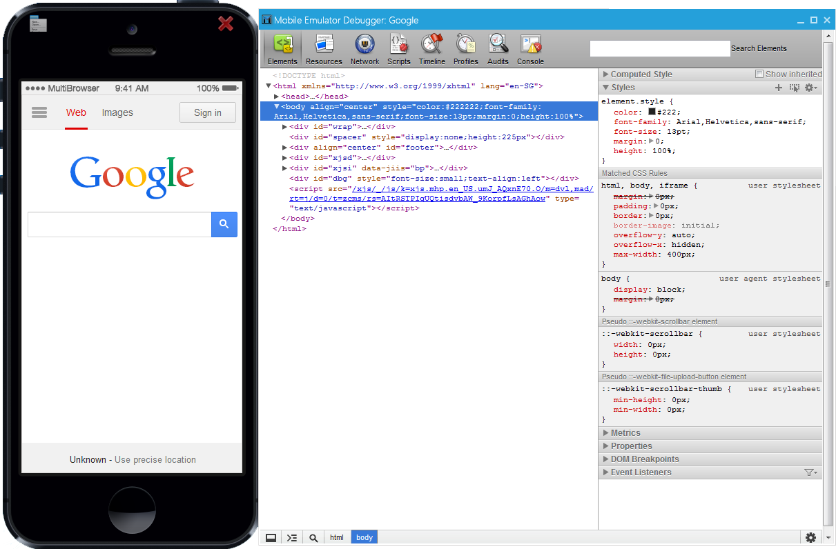 MultiBrowser Mobile & Tablet Emulator Debugger