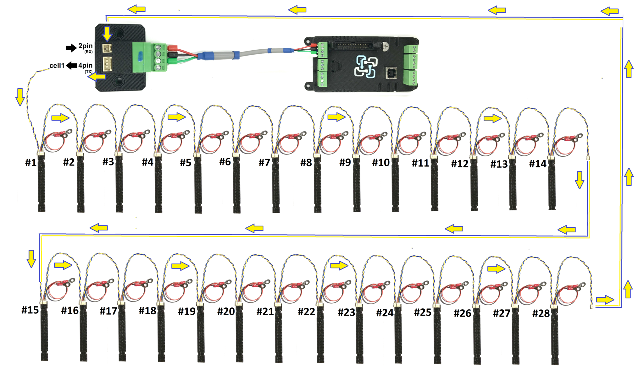 Multiple Cell Monitors Or Multi String Configuration Adding Series And Parallel Wiring Battery Bank Re Configure The Whole Pack It Is Easier To Just Keep On Linking New From Last Monitor Daisy Chain Network
