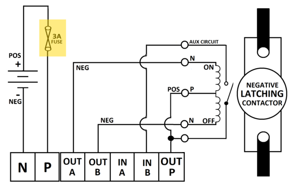 wiring a latching contactor to onboard output on the