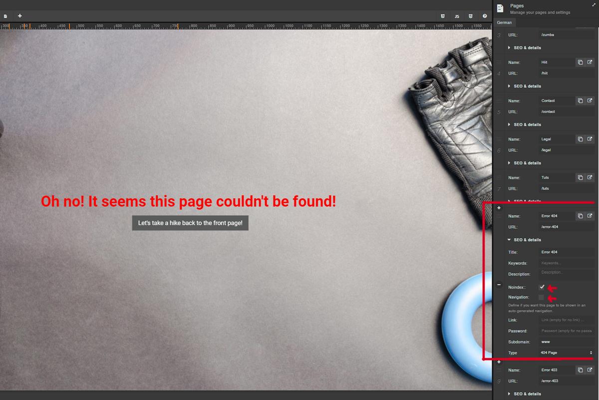 Elements - Custom Error Pages - Sitejet Help