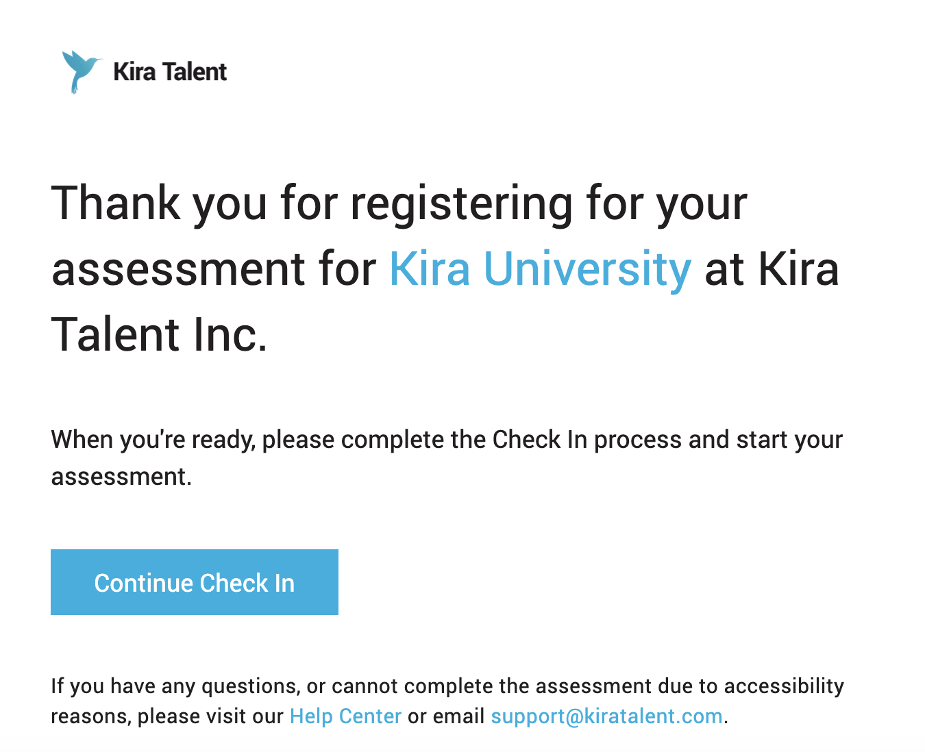 The registration email from Kira providing applicants with their unique Check In link