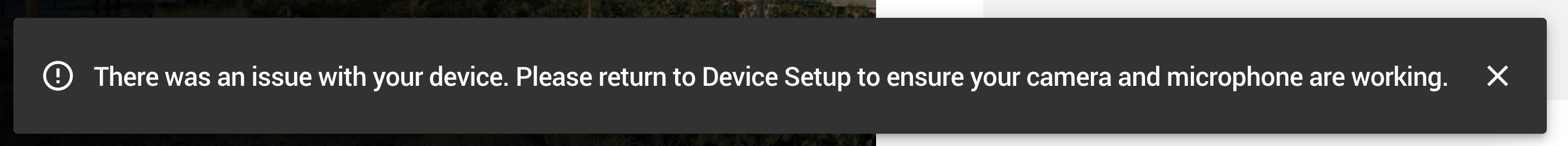 An error on the Check-in page asking applicants to repeat Device Setup due to a device issue.