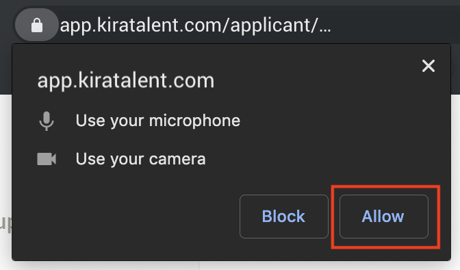 "The device permissions prompt in Chrome, Opera, or Edge with ""Allow"" and ""Block"" options"