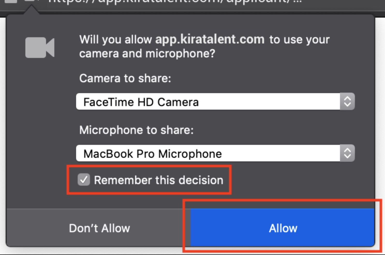"The device permissions prompt in Firefox with ""Allow"" and ""Don't Allow"" options"
