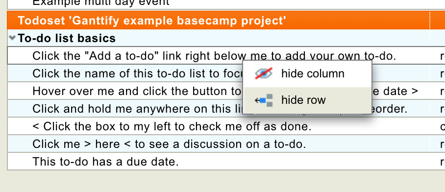 Right-click the row of the Basecamp Todo to hide it from the Gantt chart