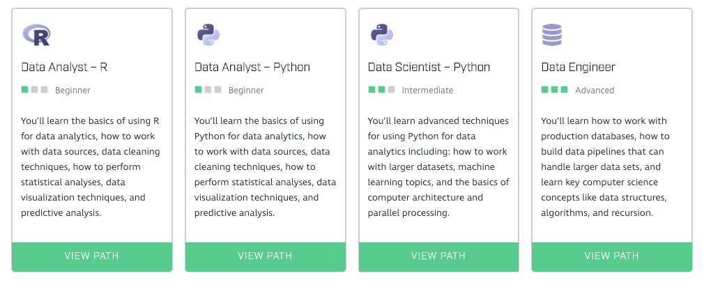 Dataquest learning paths