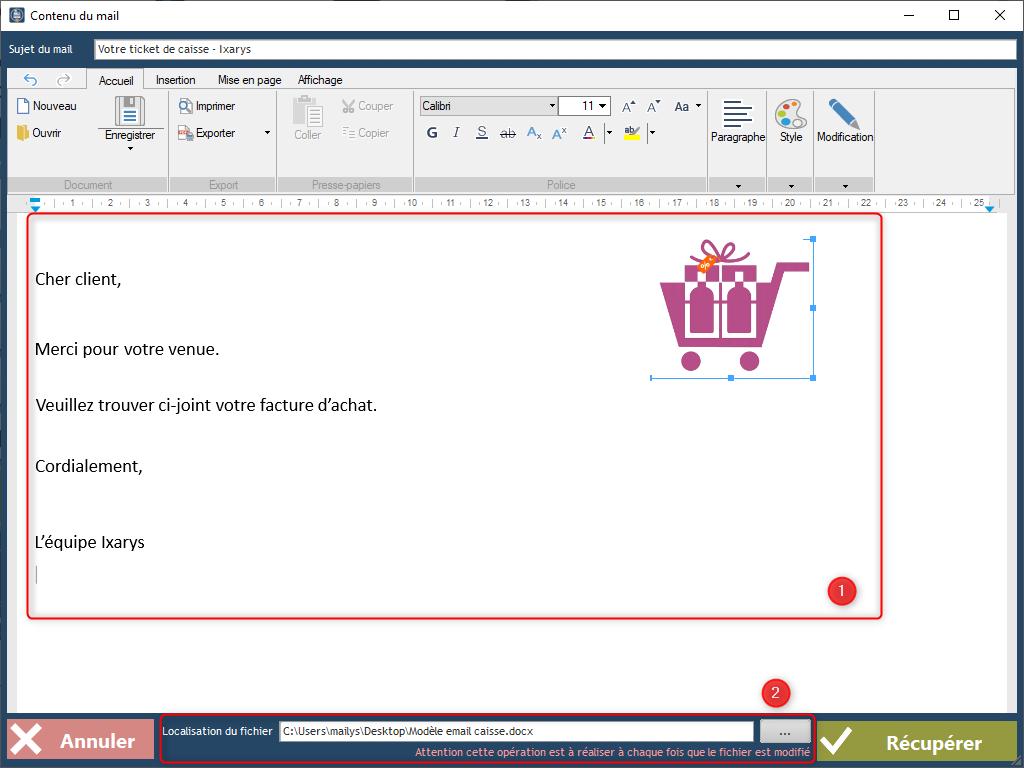 TracingCaisse - Envoi par email d'un ticket - Base de ...